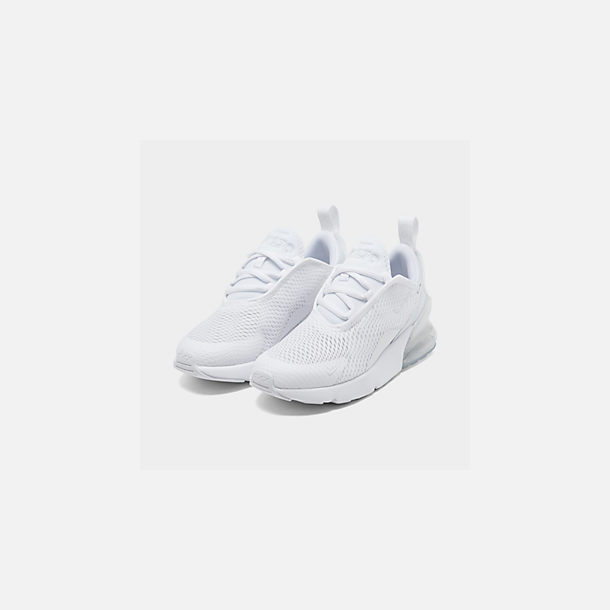 Three Quarter view of Little Kids' Nike Air Max 270 Casual Shoes in White/White/Metallic Silver