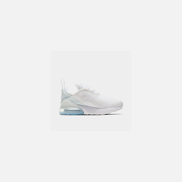 Front view of Little Kids' Nike Air Max 270 Casual Shoes in White/White/Metallic Silver