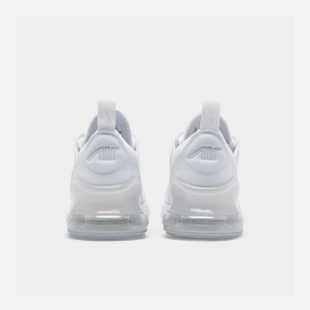 Left view of Little Kids' Nike Air Max 270 Casual Shoes in White/White/Metallic Silver