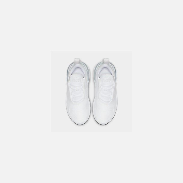 Back view of Little Kids' Nike Air Max 270 Casual Shoes in White/White/Metallic Silver