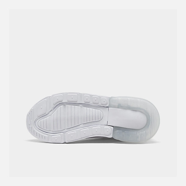 Bottom view of Little Kids' Nike Air Max 270 Casual Shoes in White/White/Metallic Silver