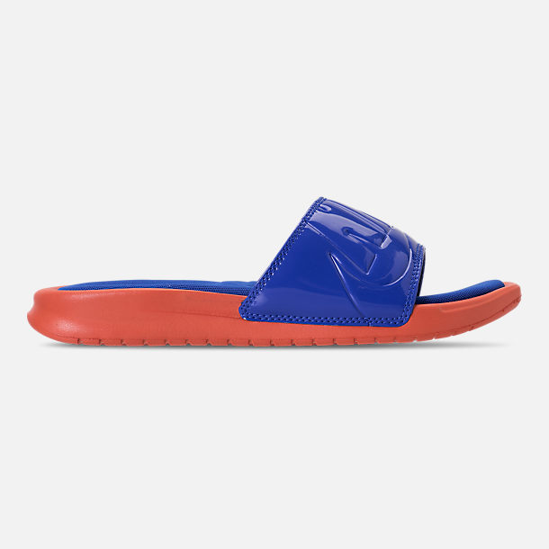 Right view of Women's Nike Benassi Just Do It Ultra SE Slide Sandals in Vintage Coral/Racer Blue