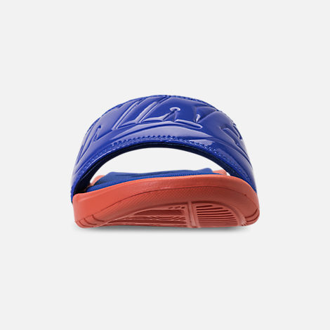 Front view of Women's Nike Benassi Just Do It Ultra SE Slide Sandals in Vintage Coral/Racer Blue
