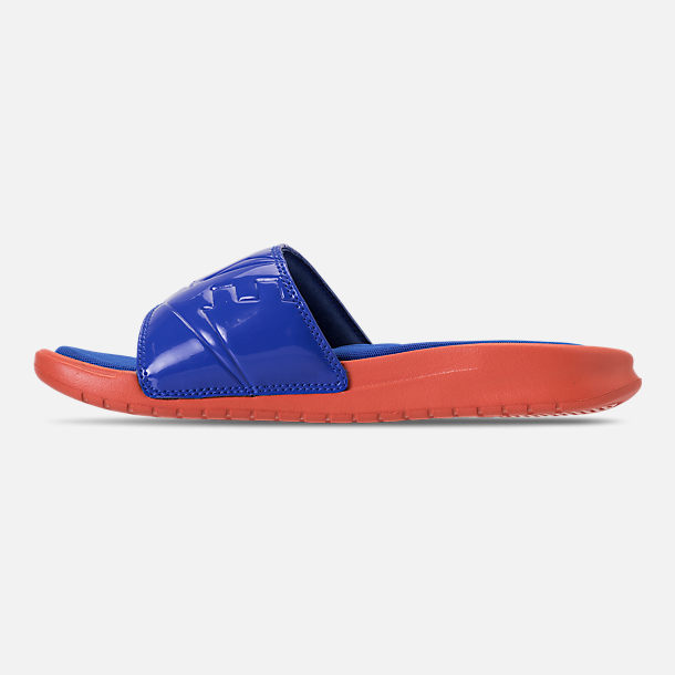 Left view of Women's Nike Benassi Just Do It Ultra SE Slide Sandals in Vintage Coral/Racer Blue