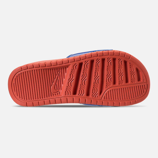 Bottom view of Women's Nike Benassi Just Do It Ultra SE Slide Sandals in Vintage Coral/Racer Blue