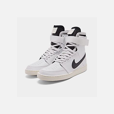 Three Quarter view of Men's Nike Double Court Casual Shoes in Summit White/Black/Sail