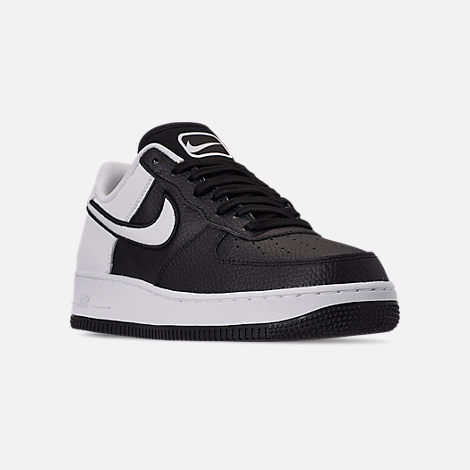 Three Quarter view of Men's Nike Air Force 1 '07 LV8 1 Casual Shoes in Black/White