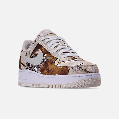 Three Quarter view of Men's Nike Air Force 1 '07 LV8 3 Casual Shoes in White/Light Bone