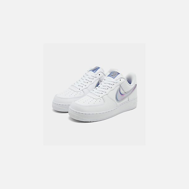 Three Quarter view of Men's Nike Air Force 1 '07 LV8 3 Casual Shoes in White/Racer Blue