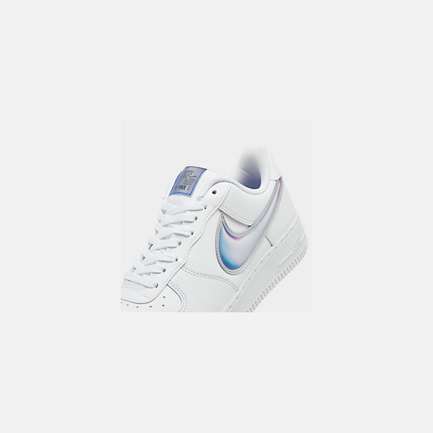 Front view of Men's Nike Air Force 1 '07 LV8 3 Casual Shoes in White/Racer Blue