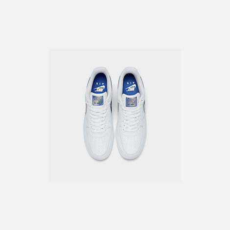 Back view of Men's Nike Air Force 1 '07 LV8 3 Casual Shoes in White/Racer Blue
