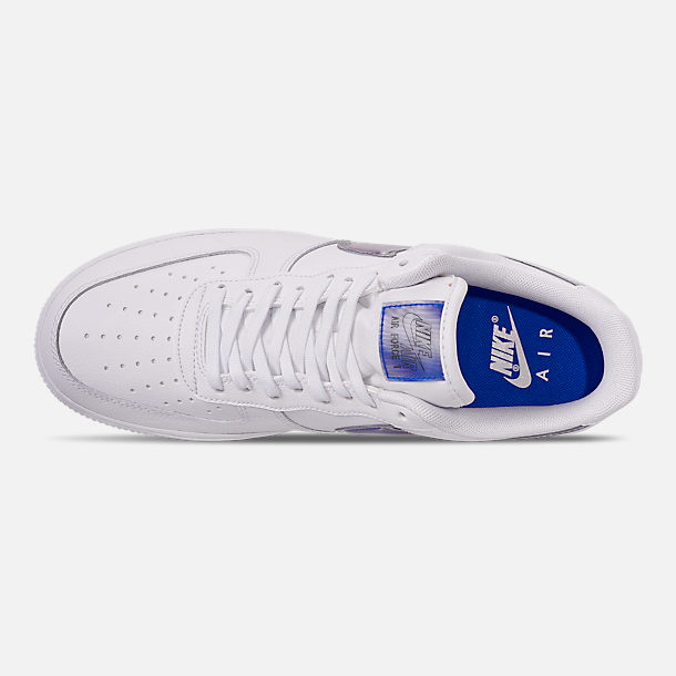 Top view of Men's Nike Air Force 1 '07 LV8 3 Casual Shoes in White/Racer Blue