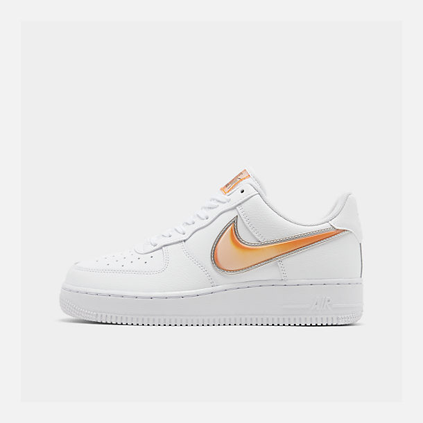 Right view of Men's Nike Air Force 1 '07 LV8 3 Casual Shoes in White/Orange Peel