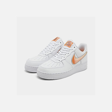 Three Quarter view of Men's Nike Air Force 1 '07 LV8 3 Casual Shoes in White/Orange Peel