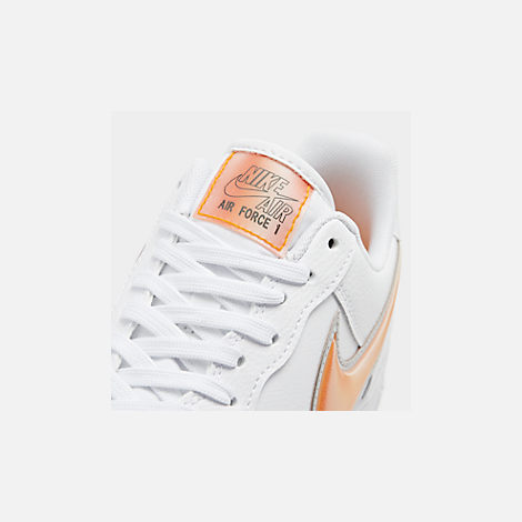 Front view of Men's Nike Air Force 1 '07 LV8 3 Casual Shoes in White/Orange Peel