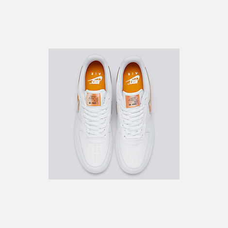 Back view of Men's Nike Air Force 1 '07 LV8 3 Casual Shoes in White/Orange Peel