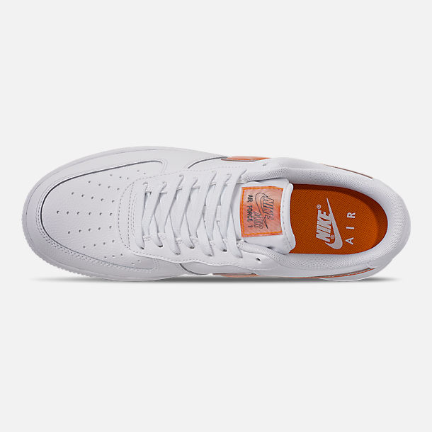 Top view of Men's Nike Air Force 1 '07 LV8 3 Casual Shoes in White/Orange Peel