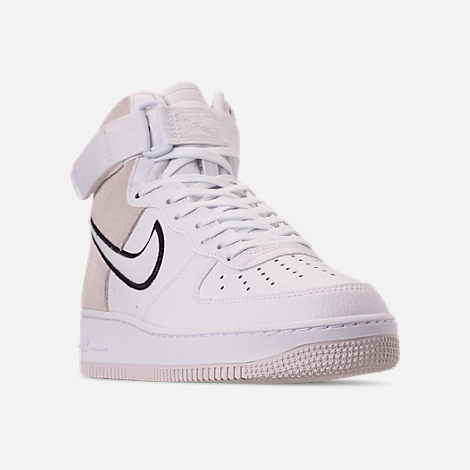 Three Quarter view of Men's Nike Air Force 1 High '07 LV8 1 Casual Shoes in White/Vast Grey/Black