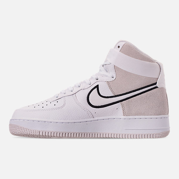 Left view of Men's Nike Air Force 1 High '07 LV8 1 Casual Shoes in White/Vast Grey/Black