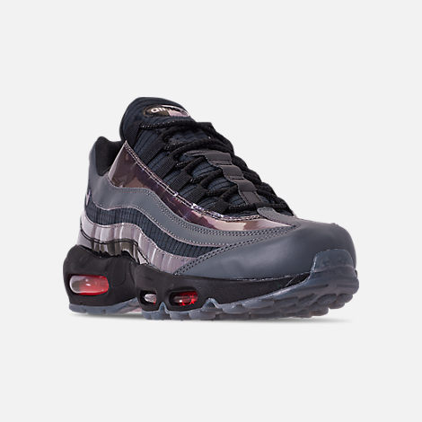 Three Quarter view of Men's Nike Air Max 95 LV8 Casual Shoes in Black/Ember Glow/Dark Grey