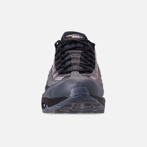 Front view of Men's Nike Air Max 95 LV8 Casual Shoes in Black/Ember Glow/Dark Grey