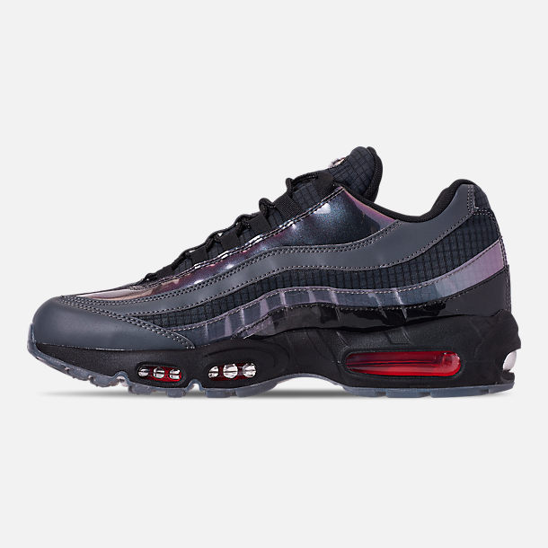 Left view of Men's Nike Air Max 95 LV8 Casual Shoes in Black/Ember Glow/Dark Grey