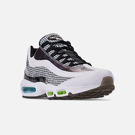 Three Quarter view of Men's Nike Air Max 95 LV8 Casual Shoes in Black/Ember Glow/Lime Blast
