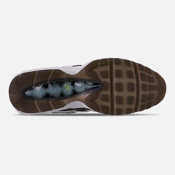 Bottom view of Men's Nike Air Max 95 LV8 Casual Shoes in Black/Ember Glow/Lime Blast