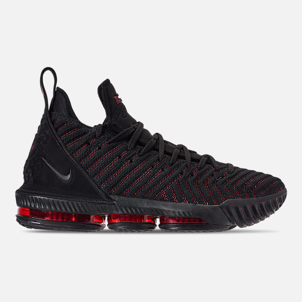 Right view of Mens Nike LeBron 16 Basketball Shoes in BlackUniversity Red