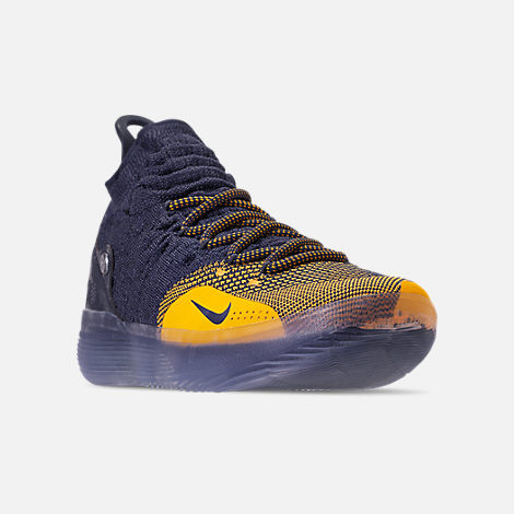 16afa977f5b Three Quarter view of Men s Nike Zoom KD11 Basketball Shoes in College Navy University  Gold