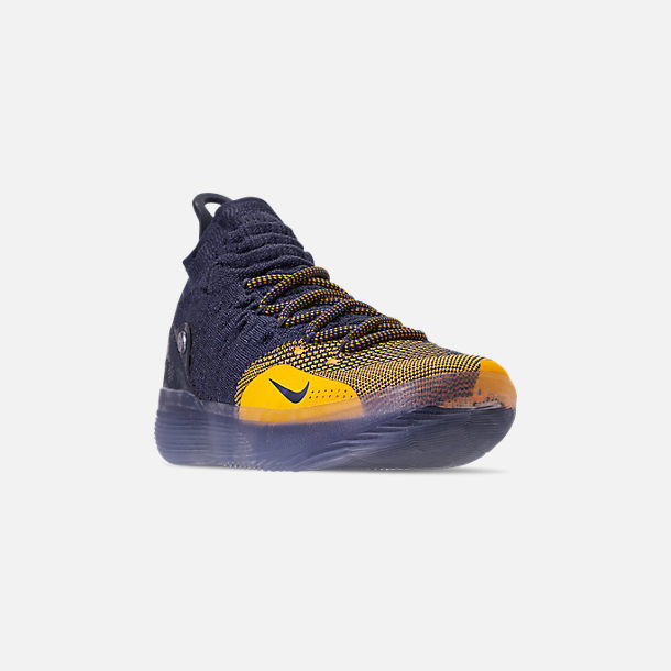 the latest d0f18 4c773 Three Quarter view of Men s Nike Zoom KD11 Basketball Shoes in College  Navy University Gold