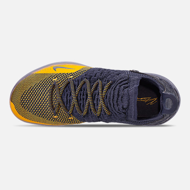 3b3c141321b8d Top view of Men s Nike Zoom KD11 Basketball Shoes in College Navy University  Gold