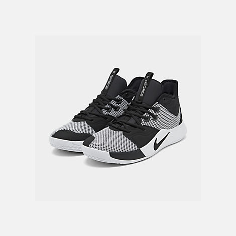 Three Quarter view of Men's Nike PG 3 Basketball Shoes in Black/Photo Blue/Total Orange/White
