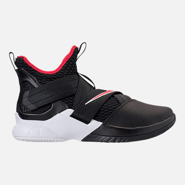 Right view of Men's Nike LeBron Soldier 12 Basketball Shoes in Black/University Red/White