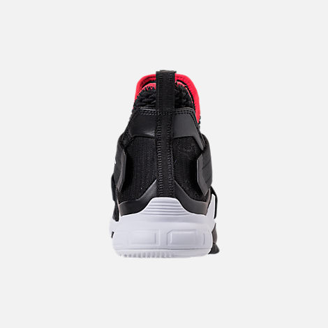 Back view of Men's Nike LeBron Soldier 12 Basketball Shoes in Black/University Red/White