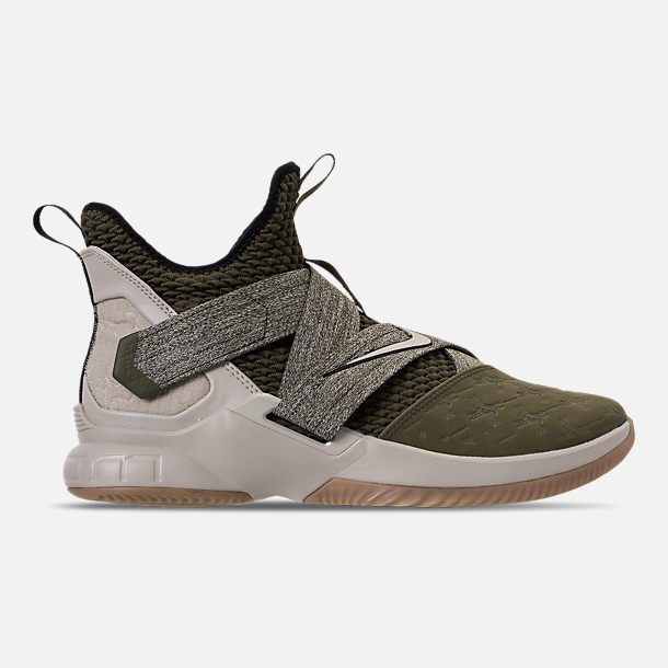 Right view of Mens Nike LeBron Soldier 12 Basketball Shoes in Olive  CanvasString