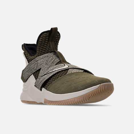 Three Quarter view of Men's Nike LeBron Soldier 12 Basketball Shoes in Olive Canvas/String/Gum Light Brown