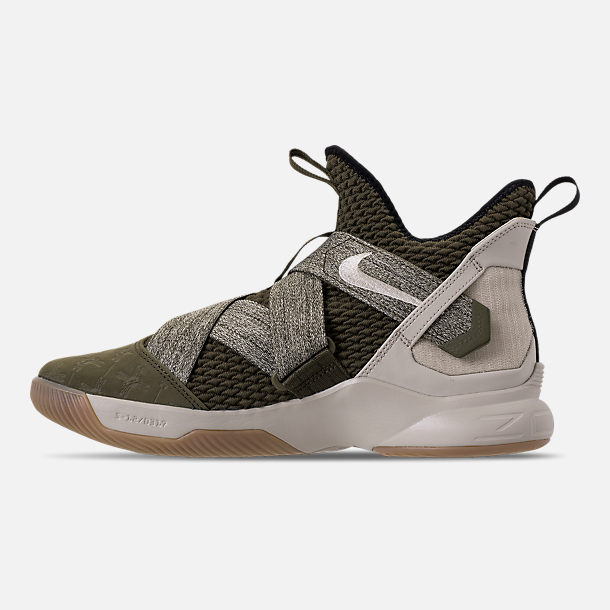 Left view of Men's Nike LeBron Soldier 12 Basketball Shoes in Olive Canvas/String/Gum Light Brown