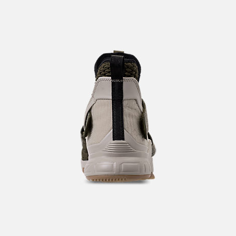 Back view of Men's Nike LeBron Soldier 12 Basketball Shoes in Olive Canvas/String/Gum Light Brown