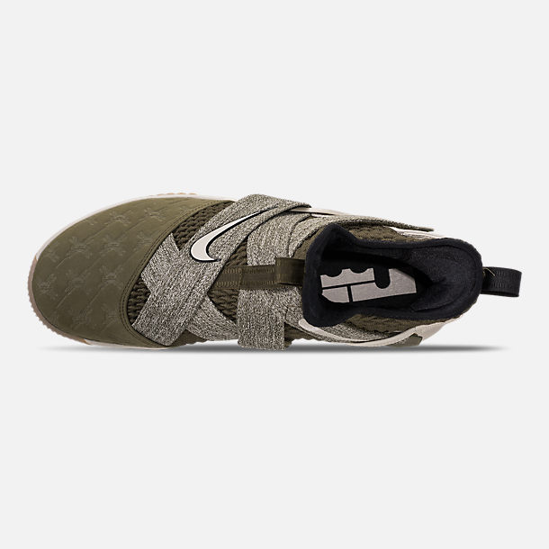 Top view of Men's Nike LeBron Soldier 12 Basketball Shoes in Olive Canvas/String/Gum Light Brown