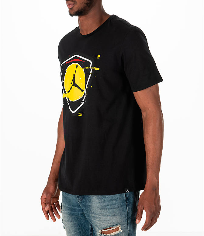 Front Three Quarter view of Men's Jordan Sportswear AJ14 Last Shot T-Shirt in Black/Gold