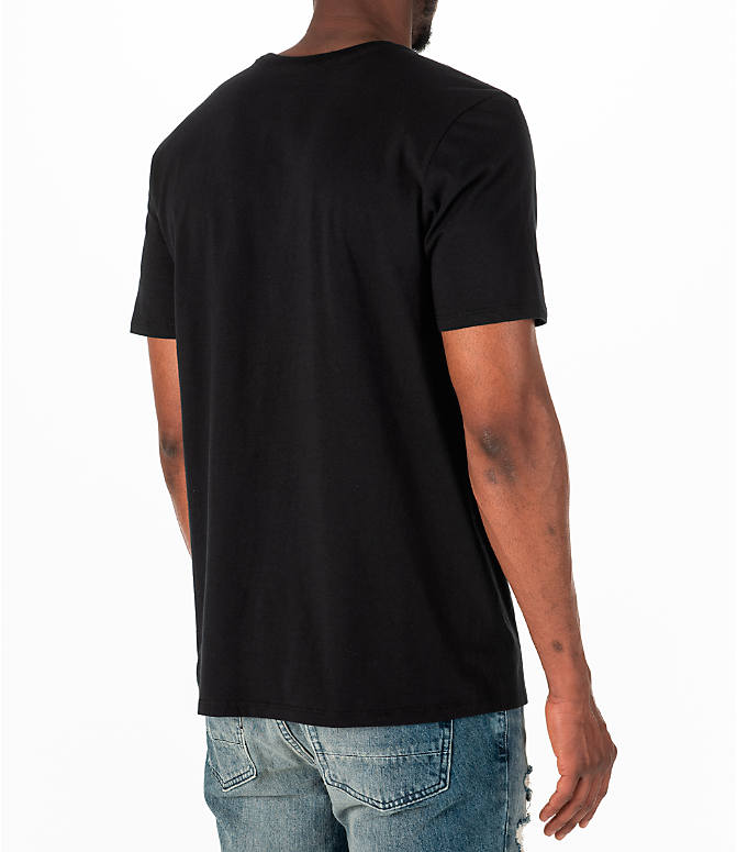 Back Right view of Men's Jordan Sportswear AJ14 Last Shot T-Shirt in Black/Gold