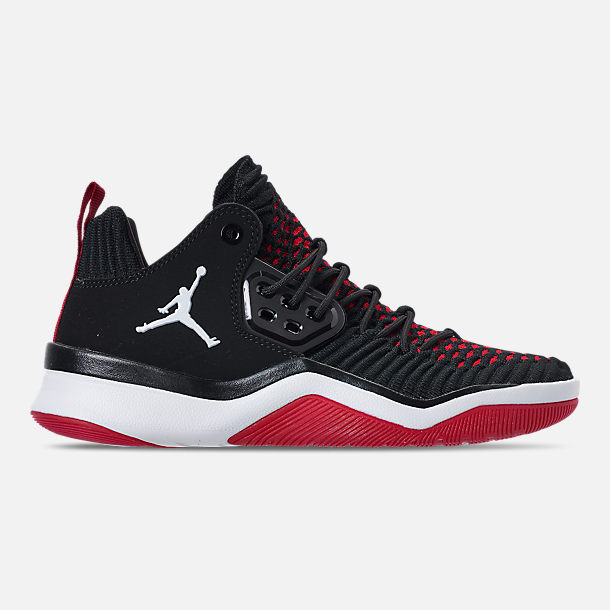 Right view of Boys' Grade School Air Jordan DNA LX Basketball Shoes in Black/White/Gym Red