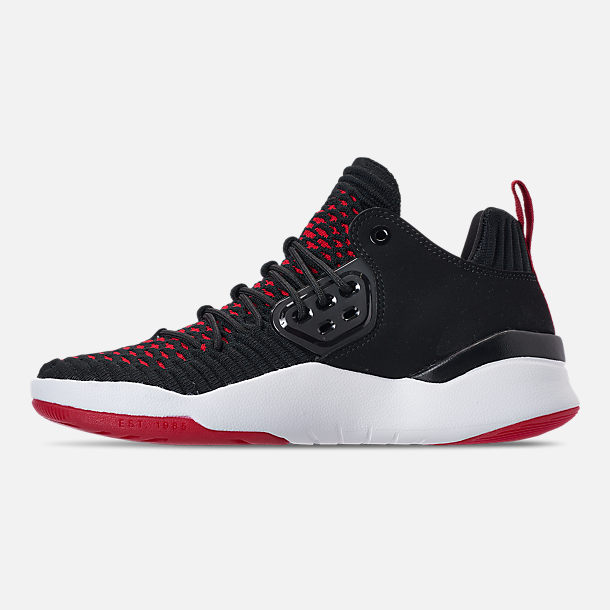 Left view of Boys' Grade School Air Jordan DNA LX Basketball Shoes in Black/White/Gym Red