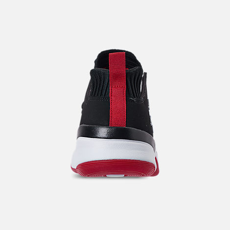 Back view of Boys' Grade School Air Jordan DNA LX Basketball Shoes in Black/White/Gym Red