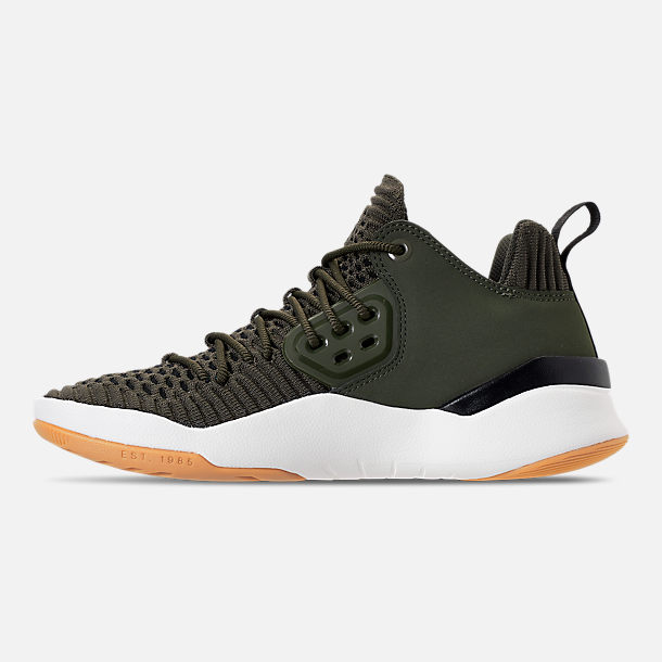 Left view of Boys' Big Kids' Air Jordan DNA LX Basketball Shoes in Cargo Khaki/Sail