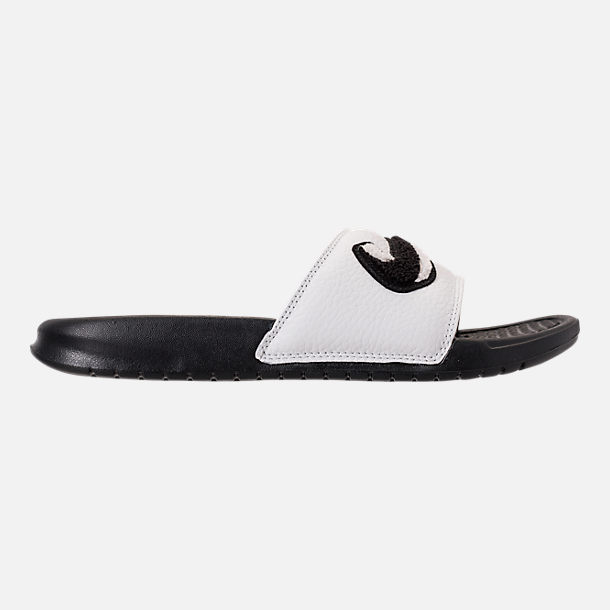Right view of Men's Nike Benassi JDI Chenille Slide Sandals in Black/Summit White