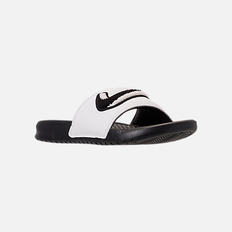 Three Quarter view of Men's Nike Benassi JDI Chenille Slide Sandals in Black/Summit White