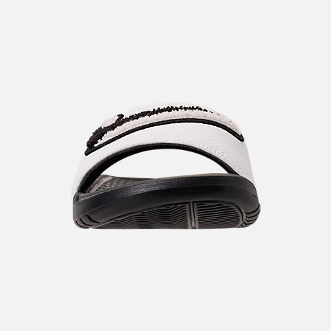 Front view of Men's Nike Benassi JDI Chenille Slide Sandals in Black/Summit White