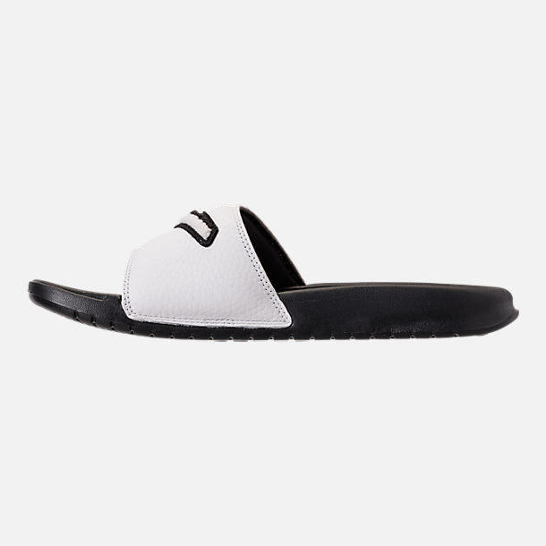 Left view of Men's Nike Benassi JDI Chenille Slide Sandals in Black/Summit White